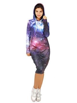 Amazing Long Sleeve Purple Starry Sky Pattern 3D Painted Hoodie Dress