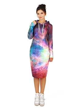Pretty Long Sleeve Shining Galaxy Pattern 3D Painted Hoodie Dress