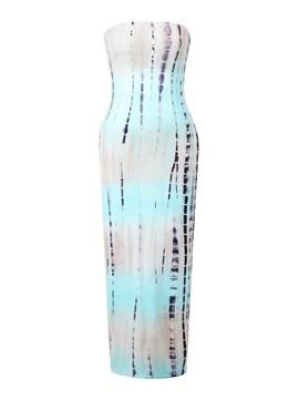 Fabulous Strapless Floor Length Gradient Print Dress