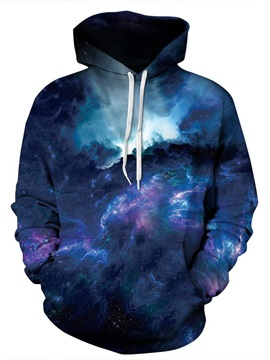 Long Sleeve Galaxy Style Dark Blue Clouds Pattern 3D Painted Hoodie