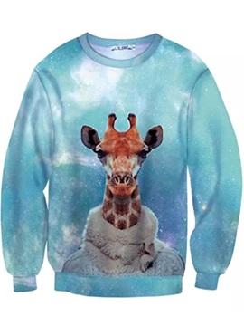 Long Sleeve Giraffe in Cloth Pattern Inner Suede 3D Painted Hoodie