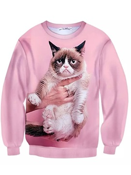 Lovely Long Sleeve Cat Pattern Pink Inner Suede 3D Painted Hoodie