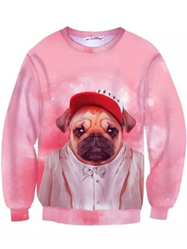 Pretty Long Sleeve Dog in Cloth Pattern Pink Inner Suede 3D Painted Hoodie