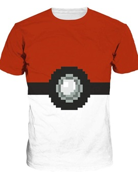 Round Neck Poke Ball Pattern 3D Painted T-Shirt