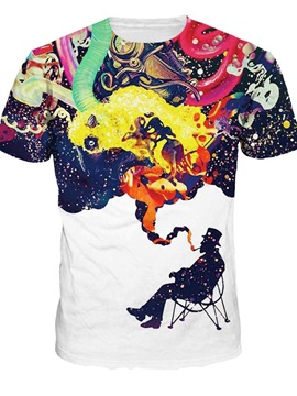 Special Round Neck Smoking Man Pattern 3D Painted T-Shirt