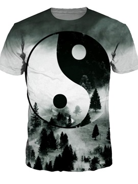 Round Neck Landscape Yin and Yang Pattern Grey 3D Painted T-Shirt