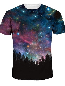 Modern Round Neck Blue Galaxy and Tree Pattern 3D Painted T-Shirt