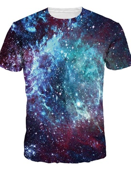 Shining Blue Galaxy Mysetry Pattern Round Neck 3D Painted T-Shirt