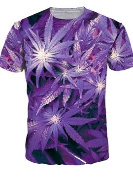 Unisex Leaf Crewneck Short Sleeve Purple 3D Pattern T-Shirt