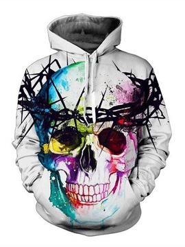 Super Cool Long Sleeve Colorful Skull Pattern 3D Painted Hoodie