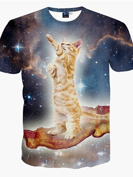 Unisex Cat in Galaxy Short Sleeve Crewneck 3D Pattern T-Shirt
