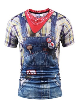 Cute Round Neck Overalls and Shirt Pattern 3D Painted T-Shirt
