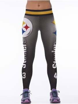 Sporty Style Number Printed Gray Women's 3D Leggings