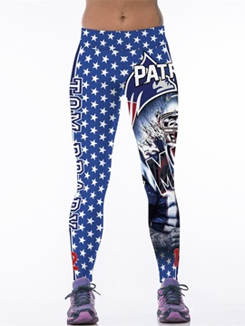 Star and Player Printed Blue Female 3D Leggings