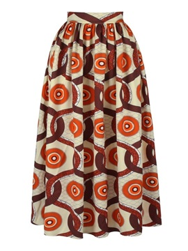 Bohemian Style Straight Mid-Calf High-Waist Printed Long Dress