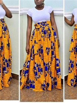 Country style Beach Dress High-Waist Knee-Length 3D Painted Skirt