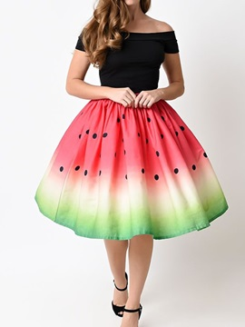 Beach Ball Gown Knee Length Stretchy Printed Midi Skirt
