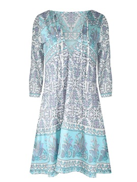 Peacock Blue 3D Print Pattern Long Sleeve Deep V Neck Beach Summer Dress
