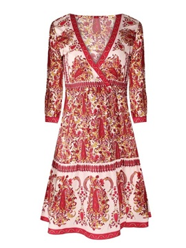 Bohemia Folk-Custom Style Red 3D Print Pattern Sexy Princess Summer Cool Beach Dress