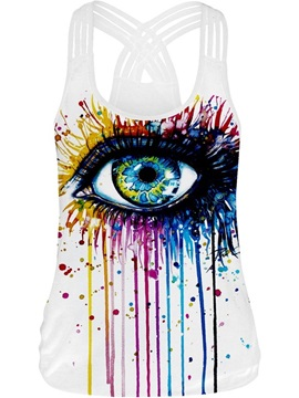 Big Eye 3D Painting Fashion Design Summer Vest Sleeveless Tank Top