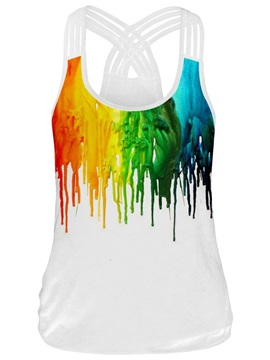 Color Painting Round Neck 3D Print Sleeveless Vest Tank Top