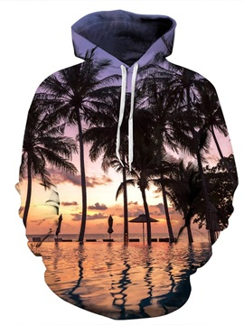 Coconut Beach Sunset Pattern Long Sleeve 3D Painted Hoodie