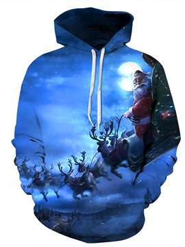 Long Sleeve Santa Claus with Deer in Winter Night Pattern 3D Painted Hoodie