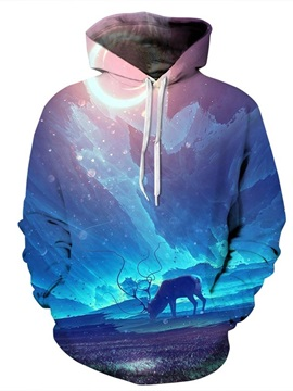 Long Sleeve Antelope Pattern Pocket 3D Painted Hoodie