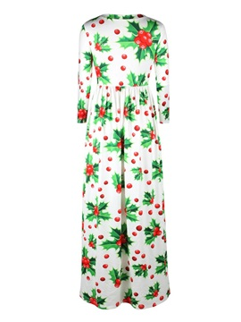3D Pattern Fruit Christmas Long Evening Party Cocktail Dress