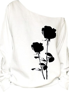 Women's 3D Print Long Sleeve Black Rose Pullover Fleece Hoodie