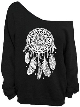Women's 3D Print Long Sleeve Dreamcatcher Pullover Fleece Hoodie