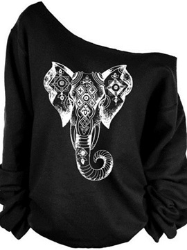 Women's 3D Print Long Sleeve Bohemia Elephant Pullover Fleece Hoodie