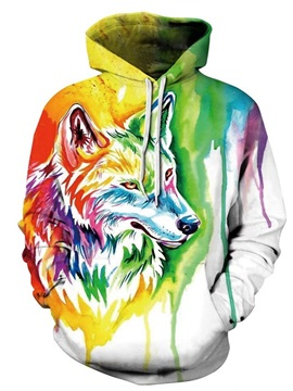 Long Sleeve Colorful Wolf Pattern 3D Painted Hoodie