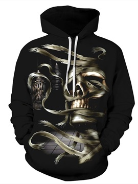 Long Sleeve Bandage Skull Pattern 3D Painted Hoodie