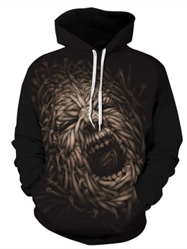 Long Sleeve Awful Face Roar Pirate 3D Halloween Pattern Hoodie