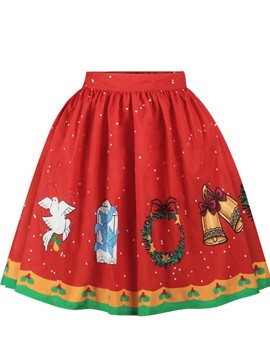 Christmas Red Deer Princess Pattern Formal Midi 3D Printing Skirt