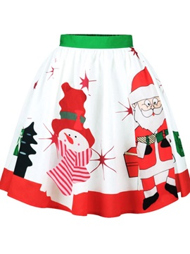 Snowman Santa White Pattern Formal Midi 3D Printing Skirt