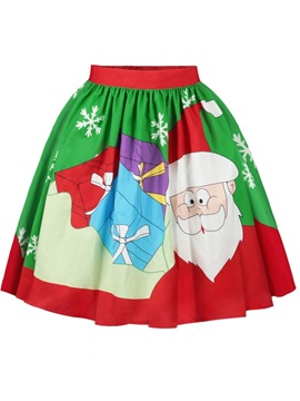 Santa with Gift Pattern Formal Midi 3D Printing Skirt