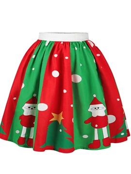Christmas Red Green Color Block Pattern Formal Midi 3D Printing Skirt