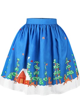Christmas House Tree Pattern Formal Midi 3D Printing Skirt