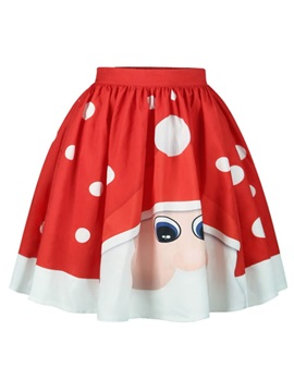 Adorable Santa Claus Pattern Formal Midi 3D Printing Skirt