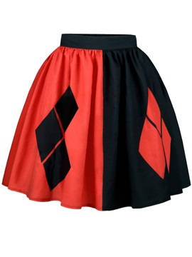 Red Black Diamond Shape Pattern Formal Midi 3D Printing Skirt