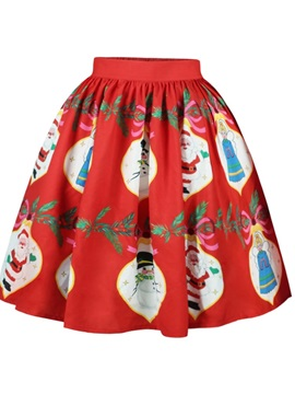 Christmas Character Pattern Formal Midi 3D Printing Skirt