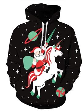 Long Sleeve Santa with Unicorn Christmas Pattern 3D Painted Hoodie