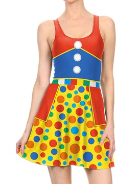 Women's 3D Printed Colorful Halloween Mini Skater Tank Dresses