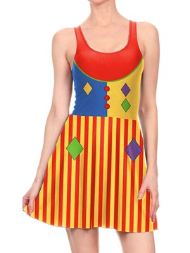 Women's 3D Printed Vertical stripes Clown Color Halloween Mini Skater Tank Dresses