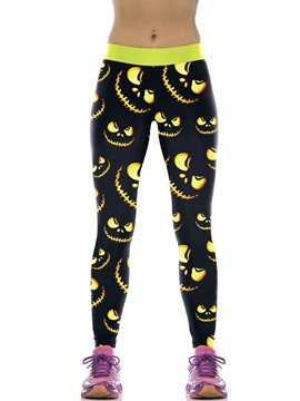 Halloween Evil Pattern Yellow Female 3D Leggings
