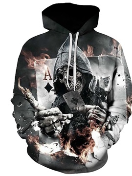 Skull Fire with Poker Long Sleeve 3D Pattern Hoodie