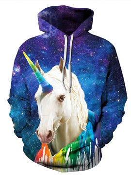 Colorful Unicorn Galaxy Long Sleeve 3D Pattern Hoodie