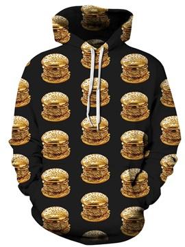 Long Sleeve Delicious Hamburgers Pattern 3D Painted Hoodie